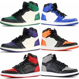 check out cc041 6a685 Mens 1s Top Pine Green Court Lila Chicago OG 1 Spiel Royal Blue Basketball-Schuhe  Rückwand Sport Sneaker Designer Trainer Größe 5,5-13 günstig spielplatz