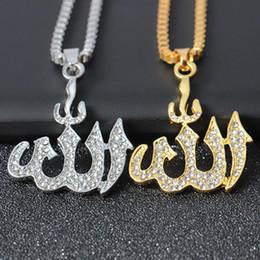 2020 gold muslim schmuck Vintage Muslim Islam-Anhänger Halskette Silber-Goldfarben-Out Kette Halskette Religion Schmuck Men # 280168 günstig gold muslim schmuck