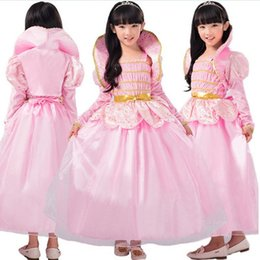 jolies robes chaudes Promotion Costumes de Jour des Enfants Chauds Filles Lotus Fée Rose Élégant Taille Arc Princesse Robe Performance Vêtements Summer Pretty Vêtements
