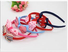 2019 diy fita rosa headband Atacado 5 Cor Bebê Headbands Arcos Crianças Fita Headbands para Meninas Crianças Acessórios Para o Cabelo Duplo Bowknot Hairband Frete Grátis