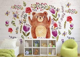 2020 oso de peluche personalizado Custom 3D Photo Wallpaper Mural Living Room Sofa TV Telón de fondo Mural Nordic wind teddy bear flowers Picture Wallpaper Mural Sticker Home Decor rebajas oso de peluche personalizado