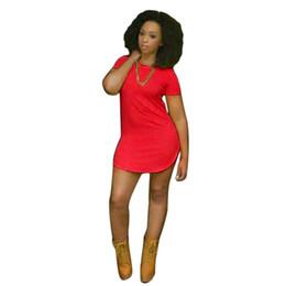 Canada Taille naturelle fille coton robe mélangée Sexy femmes Tops manches courtes fente latérale côté décontracté T-shirt Party Mini robe F 28 # 394801 supplier empire waistlines Offre