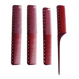 4pcs / Set rouge terne anti-statique professionnel peigne salon de beauté styling peigne coupe de cheveux courte salon de coiffure outils kit gros ? partir de fabricateur