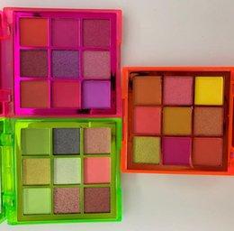 Ombres à paupières vertes en Ligne-dropshipping HudaBeaut Obsessions Neon 9 palette de couleurs de Orange Rose Shimmer Matte ombre à paupières