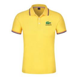 Sıcak Satış timsah Gömlek Lüks Tasarım Erkek Yaz Turn-Aşağı Yaka Kısa Kollu Pamuklu Gömlek Erkekler Üst nereden