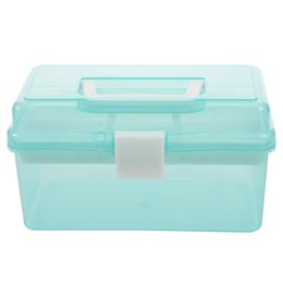 wholesale plastic compartment cases Coupons - Clear Turquoise Plastic Tray 2 Compartment Tool Storage Box Case