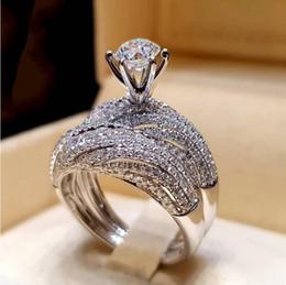 Boyutu 5-12 Gümüş Prenses Kesim Kristal Düğün Nişan Yüzüğü Band Set Gelin Halo Bildirimi Önerin Kokteyl Söz yıldönümü nereden