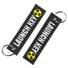 Clé de broderie en Ligne-Porte-clés Bijoux en forme de lancement nucléaire en forme de clé pour motos et voitures Scooters Broderie Tag clés Personnalisé Porte-clés Bijoux