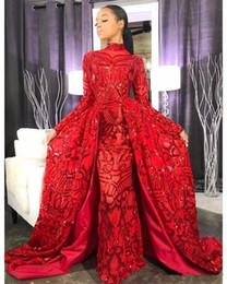 2019 Magnifiques robes de bal rouges avec des jupes amovibles col montant en dentelle à sequins manches longues robes de soirée modestes ? partir de fabricateur
