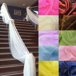 2019 sagome di poltrone usate Banners economici 500CM * 135CM Sheer Organza multiuso Wedding Chair Sash Bow Runner Swag Decorazioni Banner sagome di poltrone usate economici