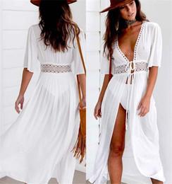 сплошной цвет купальник Скидка Купальник Cover Up Women Sexy Beach Cover Ups Белое шифоновое длинное платье Однотонный пляжный кардиган Платье Купальный костюм