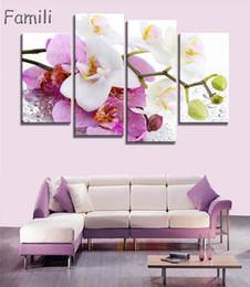 2019 orquídea pintura a óleo quadros de lona 4pcs cartaz Canvas Print Wall Art orquídeas cor de rosa decoração da arte da pintura a óleo fotos modulares na sala de parede sentado (sem moldura) SH190919 orquídea pintura a óleo quadros de lona barato