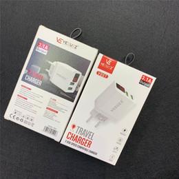 Chargeur 2usb en Ligne-Chargeur mural USB 2usb avec écran lcd 5V 3.1A AC Voyage Home Adaptateur US UE Plug Pour Universal Smartphone Android Téléphone Pour Samsung S7 S8