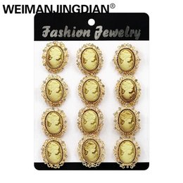 WEIMANJINGDIAN Набор из 12 винтажных брошь-брошь со смолой и стразами в винтажном стиле из позолоты или серебра от