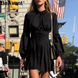 2019 le camice di vestito delle signore nere BeAvant Ladies office women summer dress Camicia manica lunga vintage plissettato elegante Un bottone nero corto casual le camice di vestito delle signore nere economici