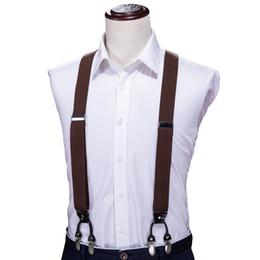 6cded04a8 Hi Tie Tirantes de Moda de Aleación de Cuero 6 Clips Tirantes Hombre  Vintage Y Forma Elástico Suspensorio Pantalones Correa Para Hombre Regalo  BH-1002
