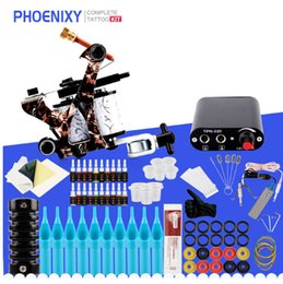 wickelspule maschine Rabatt Starter Tattoo Kit 8 Wrap Spulen Tattoo Gun Machine Set 20 Farben Tinte Stromversorgung Griffe Nadeln Tipps Tatu Tattoo Supplies Kit