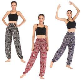 Pantalon d'éléphant en Ligne-Éléphant Femmes Yoga Pantalons Impression Loisirs Bloomers Rouge Bleu Noir Pantalon Taille Haute Large Jambe Doux De Mode 28ska D1
