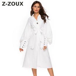 Z ZOUX Donne Trench Puff Sleeve Lace Up Bianco Donne Windbreaker tutto il fiammifero allentato Coats lungo e sottile trincea Primavera 2020