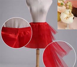 Cotone nero corto online-Nuove sottogonne per Flower Girl Dress 3 Strati No Hoop Bianco / Rosso / Nero Short Children Crinoline Girls / Kids / Child Underskirt