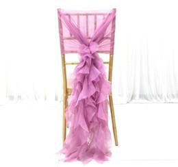Rüsche stuhl abdeckungen online-Chiffon Rüschen Vintage 2019 Hochzeit Stuhlhussen Günstige Mode Stuhl Schärpen Elegante Hochzeitsdekorationen Hochzeit Zubehör CS01
