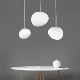 ciottoli bianchi Sconti Moderna lampada a sospensione in vetro bianco Nordic Pebble Light Soggiorno Ristorante Nuovo per camera da letto Bar Living Room Home Lighting