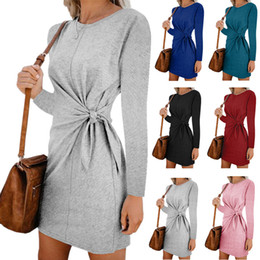 black lace bodycon dresses Coupons - Waist Bow Lace Up Dress Female Fashion Tide New Slim Waist Lace Up Bodycon Dress Crew Neck Above Knee Length Autumn Summer Dress