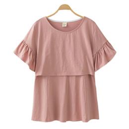 Pflegekleidung tragen online-Baumwolle Umstandsmode Stillen Stilloberteile Schwangerschaftshemd Kleidung Für Schwangere Plus Size Wear Sommer 2019 Neu Y19052003