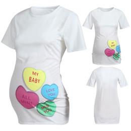 padrões de roupas de maternidade Desconto Roupas de moda para mulheres grávidas Mulheres Maternidade Manga Curta Carta de Coração Tops de Impressão T-shirt Roupas Dropshipping