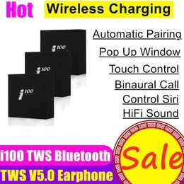Chip per telefoni online-i100 TWS Wireless Headphones Bluetooth 5.0 auricolare Earbuds ricarica auricolare Pop Up auricolari per telefoni Xiaomi H1 W1 Chip