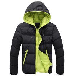 2019 Inverno Caldo Doudoune Homme Plus Size Moda Solid Piumino Uomo Casual Zipper Parka Pluma Hombre Piumino con cappuccio da pizzi fluorescenti fornitori