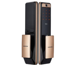 Chiude le porte digitali online-Samsung SHP-DP609 Keyless Fingerprint Push Tirare a due vie Digital Door Block English versione Big Mortiso Gold Color