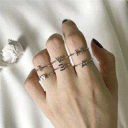 Палец кольца буквы онлайн-Унисекс стерлингового серебра 925 пробы A-Z 26 букв начальное имя кольца для женщин мужчин геометрические стерлингового серебра 925 пробы кольца ювелирные изделия