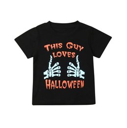 Camicia collare nera online-Bambini di Halloween T-shirt Nero Questo ragazzo ama i ragazzi dei capretti di Halloween Top Collare rotonda cotone manica corta T-shirt