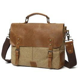 Gran capacidad de cuero de la lona bolso para hombre Vintage diseñador maletín 14