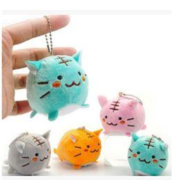 Kawaii 4 cores misturadas enviar 6 CM TIGER CAT Plush chave da cadeia DOLL Plush Stuffed TOY DOLL; Kitty pingente de casamento BRINQUEDO Bouquet B11 de