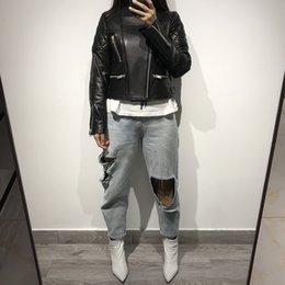 2019 pelle di pecora nera giacca da donna in vera pelle di vera pecora nera da donna pelle di pecora nera economici
