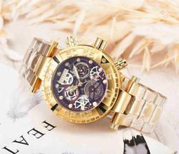 m4 tap Desconto Homens de boa qualidade invicta relógios de OURO de aço inoxidável cinta Mens Watch relógios de Pulso de Quartzo relogies para homens relojes Melhor Presente Hot Vender