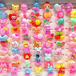 2019 fiori assortiti Nuovi 100 Pz / lotto Cartoon Anelli per bambini Gioielli a forma di cuore Animali Fiore Cuore assortito Baby Girl ring band Regali fiori assortiti economici