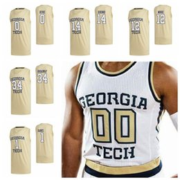 Camisa amarela de basquete 24 on-line-Georgia Tech Yellow Jackets Jerseys 3 Evan Cole Jersey Michael Devoe 0 David Didenko 14 Jehloni James 24 College Basketball Jerseys personalizado