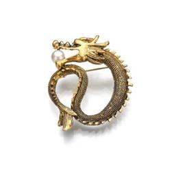 2019 piedini drago Spilla reale simulato perla metallo perno spilla drago vintage gioielli uomo Brosh regalo di Natale b67 piedini drago economici