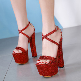 503f95c4a60 Lentejuelas de lujo de verano punta abierta sandalias de las mujeres 17.5  cm ultra grueso plataforma de tacón alto zapatos de vestido de fiesta rojo  plata ...