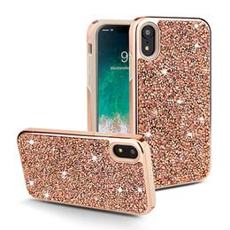 Argentina Bling rhinestone funda para teléfono celular para Iphone XS MAX XR X 7 8 6 plus tpu cubierta con brillo de pc para samsung S8 S9 S10 plus E Lite Note 8 9 lujo Suministro