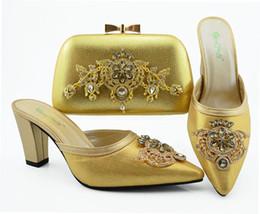 2019 mulher sacos sapatos italia Sapatas agradáveis africanos Sapatos italianos e conjuntos de saco de mulheres de ouro e saco definido na Itália conjunto de correspondência TL009 mulher sacos sapatos italia barato