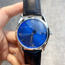 Relógios de pulso elegantes homens on-line-2019 venda quente moda homem assistir preto / marrom calendário genuíno relógios de pulso elegante dress relógio de luxo relógio de quartzo de aço caso dropshipping