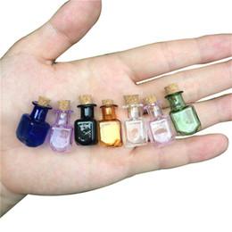 cajas de lápiz labial negro al por mayor Rebajas Mini Botellas de vidrio de color Rectángulo Botellas lindas con corcho Botellas pequeñas Regalo Frascos pequeños Frascos Mezcla 7Colores