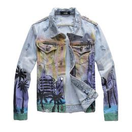 Motos de bombardero online-Denim Jackets Carta motocicleta impresión chaqueta de mezclilla diseñador famoso bombardero de alta costura denim chaqueta delgada cazadora para hombre de la ropa de la mezclilla