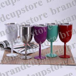 Nuovo Bicchiere da 10 once Bicchiere da vino a doppia parete in acciaio inox con coperchio Bicchiere da vino rosso Tazze 9 colori. da