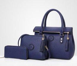Hot Lady Hand bag New Luxury Genuine Leather Tassel Handbag 3 Pcs Composite  Bags Set Lady Shoulder Crossbody Women Bag Female Wallet Clu m1 108587bf1c