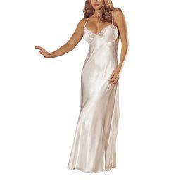 rendas vestidos de dama de honra de duas cores Desconto 2019 Sexy Lingerie Rendas Babydoll Underwear Sleepskirt Renda De Cetim Vestido Longo Camisola Sexy longo Vestido% 8